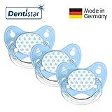 Dentistar® Schnuller 3er Set Nuckel Silikon in Größe 2, 6-14 Monate - zahnfreundlich & kiefergerecht - Beruhigungssauger für Babys – Sterne Blau