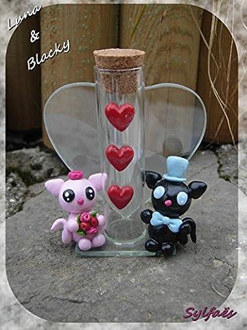 Bonbonnière chats fimo- Luna & Blacky, les petits chats amoureux