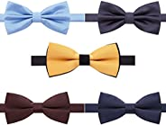 AUSKY 8 PACKS Elegant Adjustable Pre-tied bow ties for Men Boys in Different Colors(5&6&8Pack for