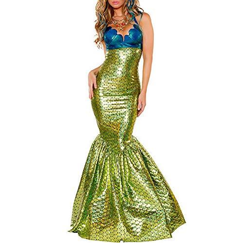 TGP Meerjungfrau Kostüm - Damenkostüm Nixe - Mermaid Cosplay Costume-Halloweenkostüm (Grün/Blau, XX-Large)