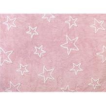 Aratextil. Alfombra Infantil 100% Algodón lavable en lavadora Colección Estrella Rosa 120x160 cms