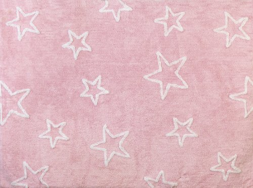 Aratextil Estrella Alfombra Infantil, Algodón, Rosa, 120x160 cm