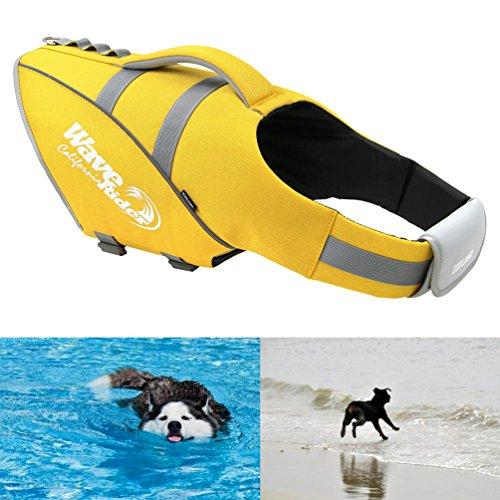 Petacc Schwimmmantel Reflektierende Dog Life Jacket Einstellbare Haustier Schwimmweste mit überlegener Auftrieb, Geeignet für mittlere Hunde, Gelb, L