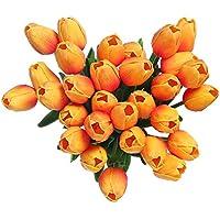 [Sponsorizzato]Fiori artificiali finti, tulipani in lattice, decorazione fai da te per matrimonio, stanza d'albergo, ecc., Orange, 10 pezzi