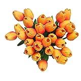 Künstliche Tulpen aus Latex-Material, die sich echt anfühlen, für Hochzeit, Zimmer, Haus, Hotel, als Partydekoration und DIY-dekor, Orange, 20pcs
