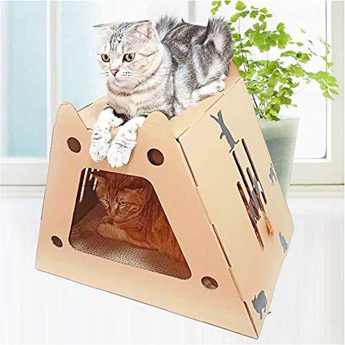 Cat Carton Cat Nest Multifunctional Corrugated Cat Grab Board Cat Box Paper Nest House Cat House Villa 35 * 50 * 36cm - Paper Pickup Board