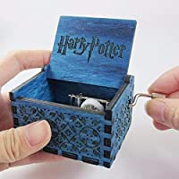 Vowmix Wooden Hedwig Theme Harry Potter Hand Cranked Collectable Engraved Mini Music Box- Blue