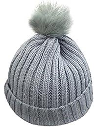 VENMO Bebé Niños niñas Invierno Gorro de Punto Caliente Beanie Sombreros de Bolas (Gris)