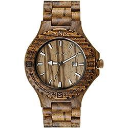 Men's Natural Zebrawood Quartz Calendar Wrist Watch Wooden Watch Fathers Day Gift
