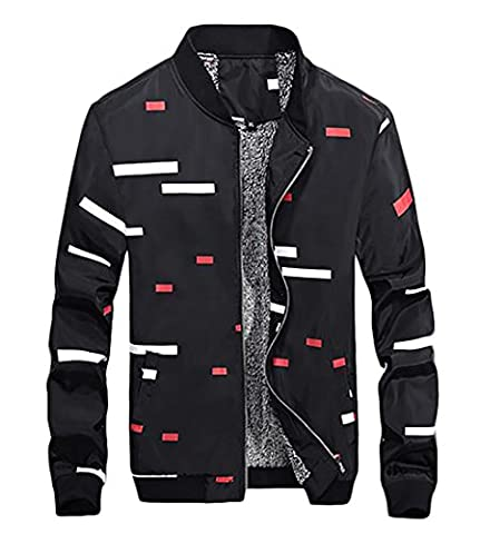 Fulok Men's Outwear Stand Collar Print Slim Windbreakers Jacket XX-Small