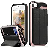 iPhone SE Wallet Case, Vena [vCommute] Flip Leather Back [Card Slot Holder][Smart Cover KickStand] Heavy Duty Cover for Apple iPhone SE / 5S / 5 (Black/Rose Gold)