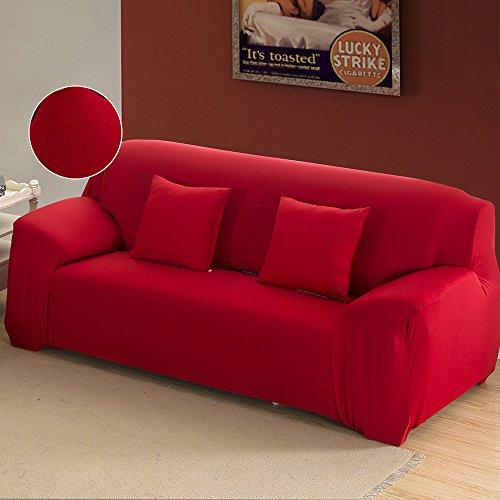 Copridivano elasticizzato 3 posti vari colori con braccioli universale in poliesteri spandex copertura divano tinta unita (rosso)