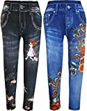 #7: kids girls denim poly cotton stretchable leggings/jeggings/bottom for all ages size(PACK OF 2)