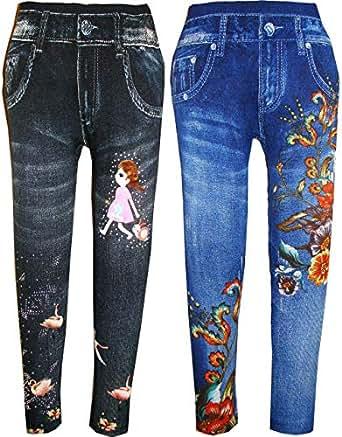KIFAYATI BAZAR Girls Poly Cotton Denim Leggings (Multicolour, 5-6 Years) - Pack of 2