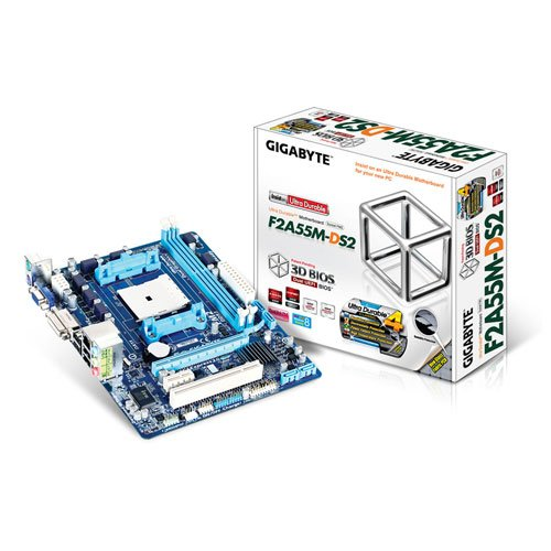 Gigabyte GA-F2A55M-DS2 Mainboard Sockel FM2+ (Micro-ATX, AMD A55, 2X DDR3-Speicher, 4X SATA II, DVI-D, RJ-45, 4X USB 2.0) (Fm2-motherboards Von Gigabyte)