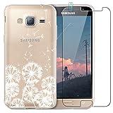 blossom01 Coque Samsung Galaxy J3 2016 avec Verre Trempé, Blanc Henné Mandala Fleur...