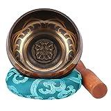 Campana Tibetana,Campana Tibetana Buddista 9.5cm Ciotole di Canto Completa di Cuscino Himalayano e Percussore per Meditazione Buddista Cura Yoga Musicoterapia