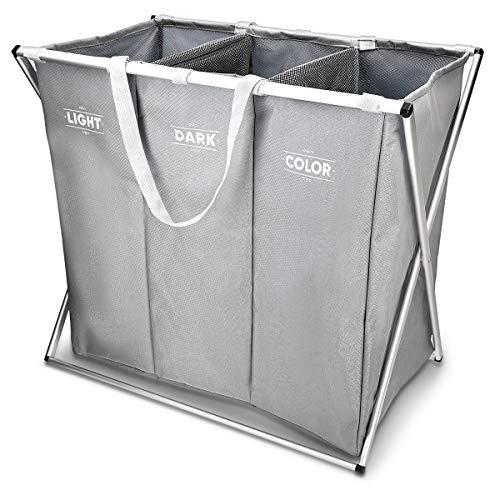 Navaris Wäschekorb 3 Fächer Wäschesammler Sortierer - Wäsche Korb für Schmutzwäsche - Hell Dunkel Bunt Design - Wäschebox 65x38x55cm in Grau -