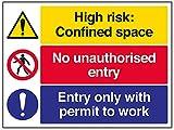 vsafety 6C025bf-r engem Raum/keine unbefugtem Entry/Arbeitserlaubnis Achtung Baustelle Schild, starrer Kunststoff, Landschaft, 400mm x 300mm, schwarz/blau/rot/gelb