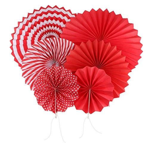 FLAMEER Papier Fächer Rosetten Papierfächer Raumdeko Papierrosetten - Rot Streifen Rot Rosette