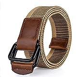 Namgiy - Cinturón elástico para hombre, tejido elástico, hebilla trenzada, cinturón ancho para pantalones vaqueros, pantalones cortos, pines al aire libre 130 x 3,8 cm 130 cm White Coffee