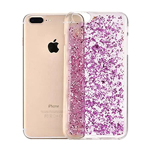 Coque pour iPhone 7 Plus TPU Silicone Etui Housse,MingKun iPhone 7 Plus 5.5 Pouces Souple Transparent Case Cover Coque de Protection avec Absorption de Choc Bumper et Anti-Scratch Hull Bling Glitter C A-Purple
