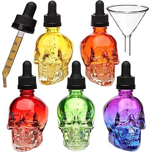 HUIZHU 3 stücke 60 ml schädel Glas tropfflasche flüssigkeit Flasche parfümflasche mit Pipette(60ML)