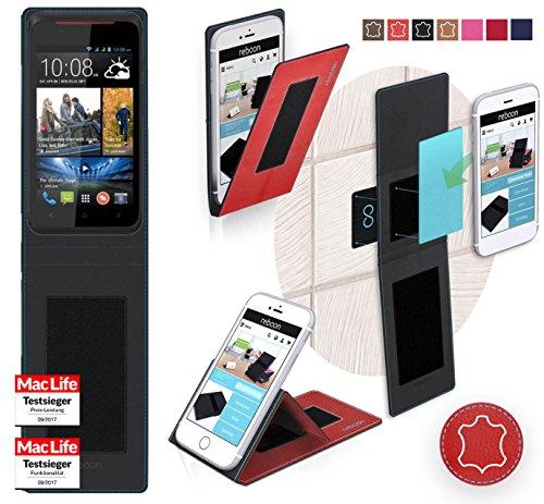 reboon Hülle für HTC Desire 210 Dual SIM Tasche Cover Case Bumper | Rot Leder | Testsieger