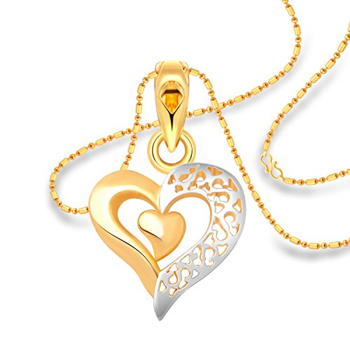Vighnaharta Solo Design Heart Plain Gold and Rhodium Plated Alloy Pendant with Chain for Girls and Women - [VFJ1219PG]