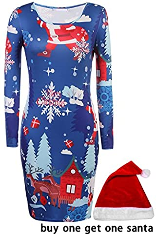 Hikenn Damen Weihnachten Swing Kleid Mädchen Geschenk Candy Damen Lebkuchen Pinguin Kittel Rentier Skater Minikleid