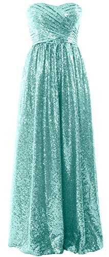 MACloth Women Strapless Sequin Long Bridesmaid Dress Formal Party Evening Gown Minze