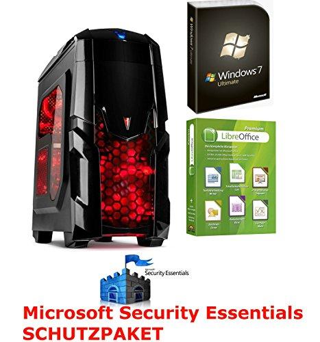 Komplett PC System mit Rote Beleuchtung Computer Rechner Quadcore 8GB Win7 64BIT 1T ( 1000GB ) HDD HDMI + USB 3.0 + USB 2.0 + DVD Brenner