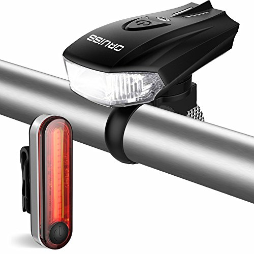 LED Bike Lights Set USB Rechargeable - 400 Lumens Intelligent Sensor Bicycle Headlight and 6 Brightness Options Red Taillight, Easy to Install for Cycling Safety Flashlight
