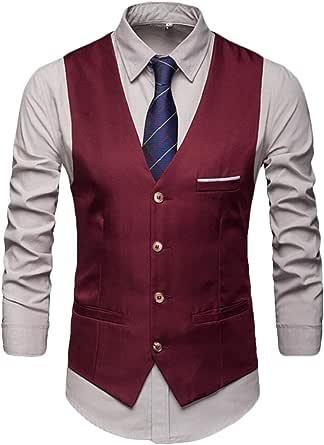 GRMO Men Classic Business Sleeveless Waistcoat Single Breasted Dress Vest