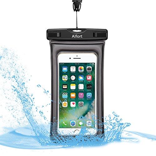 Wasserdichte Hülle Handyhülle Tasche, Alfort IPX8 Wasserdicht versiegelt Unterwasser Trockene Schwimmfähige Smartphone Tasche Beutel Bag Mit Armband Sowie Umhängeband aus für Handys bis zu 6 Zoll Schnorcheln Tauchen iPhone 8 / 8 plus / 7 / 7 plus / Samsung Galaxy S8 / S7 / S7 edge / J3 / A3 2017 / A5 2017 / Huawei / Sony Xperia, Unterwasser Fotografie LUMIA 950 Huawei P10 / P9 Lite BQ Aquaris Moto, Winterschwimmen / Klettern Sie den Schneeberg / Heiße Quellen Kann verwendet werden
