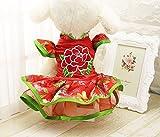 Vestido de perro, Peony Tang Traje de disfraces Hallowmas Navidad Año Nuevo chino Pet Small Dog Skirt Chest Protector Siamese Dress 5 Tamaño ( Color : Red , Size : XXL )
