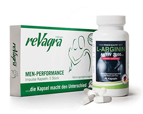 reVagra intensiv Impulse Kapseln für Männer (5 Kapseln) - natürlich - rezeptfrei + L-Arginin (60 Kapseln) - Hochdosiert 2000 mg Tagesdosis - Top Kombination für mehr Energie, Lust u. Leistungsfähigkeit
