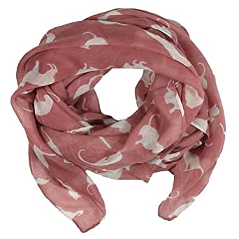 Large cat print design women scarfs (Dusty rose)