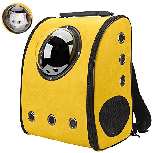 IACON Backpack Pet Carrier Haustier Rucksack Brust Tragetasche Transportrucksack für Hunde & Katzen (Yellow) (Traveler Auf Rucksack Rädern)