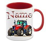 Kinder-Tasse Becher Bauernhof Traktor mit Namen (Rot)