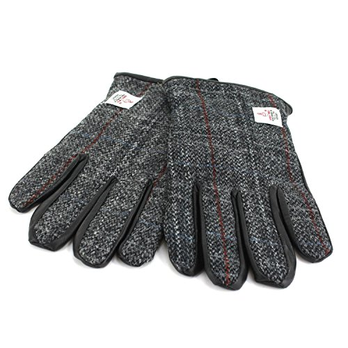 Harris Tweed Herren Handschuhe  Gr. X-Large, Grey with red stripes (Tweed Harris)