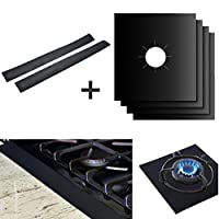 Jaminy 4Pcs Reusable Gas Hob Range Stovetop Burner Protector Liner Cover & 2Pcs Stove Counter Gap Cover For Cleaning Kitchen Tools (A)