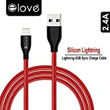 #8: Elove 4Ft(1.2Mtr) Soft Flexible Silicon Quick Charge (2.4A) Lightning to USB Cable for Apple iPhone X,7,7Plus,8,8 Plus,5C,5S,SE,iPad and Other iOS Devices - RED (GS-0404)