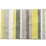 Pauwer Rutschfester Badvorleger,schimmelbestendiger Badezimmer-Teppich, Duschmatte, waschmaschinenfest, Microfaser, gelb, 50x80cm