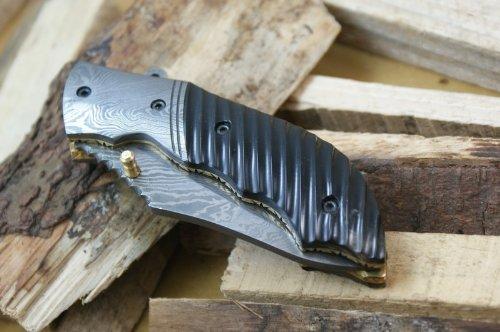 Asaz coltello pieghevole da caccia personalizzato damasco con fodero in cuoio
