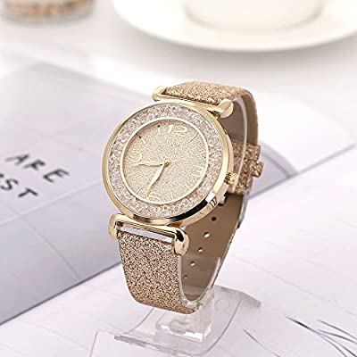 Womens Crystal Quartz Watches,Ulanda-EU Numeral Analog Clearance Lady Wrist Watch Female watches on Sale Watches for Women,Round Dial Case Shiny PU Leather Wristwatch ws63 (Gold) : everything five pounds (or less!)