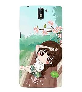 printtech Cute Beautiful Anime Girl Back Case Cover for OnePlus One / One plus one / Oneplus 1 / One Plus 1
