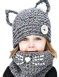 HANMAX Bonnet de Laine Enfant Tricoté Animaux Oreilles de Chat Hiver Chaud  Écharpe Chapeau Châles Casquettes 5367b89af79