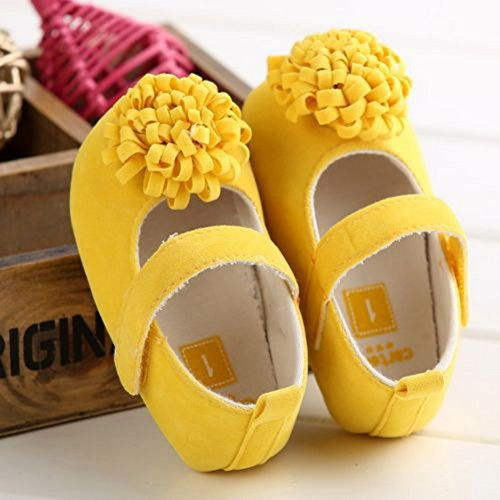 Crib Yellow Girl Princess Mary Soled Flower Walker Anti Shoes Soft Slip Jane First Baby RqTxUfzU