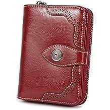 ce6b86d7366 Carteras Mujer Cuero Billetera Pequeña con Cremallera RFID Bloqueo de Cera  Piel Vintage Monederos Mujer con